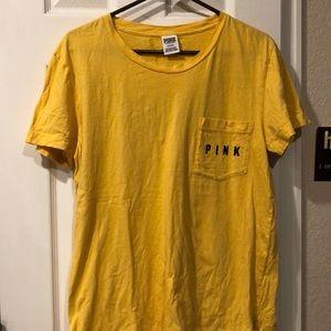 PINK Yellow Short Sleeve Tee!